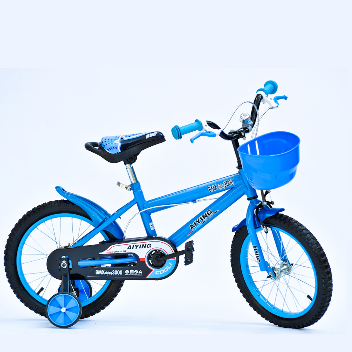 kinder fahrrad f r jungen 16 zoll blau mit viel zubeh r. Black Bedroom Furniture Sets. Home Design Ideas